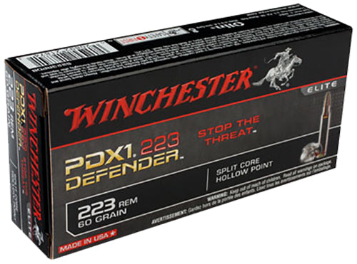 Winchester Ammo S223RPDB Elite 223 Remington/5.56 NATO 60 GR Split Core Jacketed Hollow Point 20 Bx/ 10 Cs