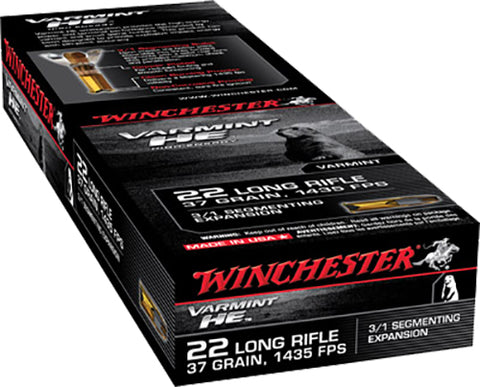 Winchester Ammo S22LRFSP Varmint 22 Long Rifle 37 GR Hollow Point 3/1 Segmenting Core 50 Bx/ 20 Cs