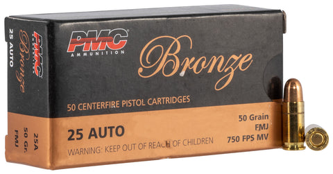 PMC 25A Bronze  25 ACP 50 gr Full Metal Jacket (FMJ) 50 Bx/ 20 Cs