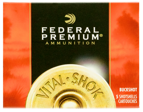 "Federal P108F00 Premium Vital-Shok 10 Gauge 3.5"" 18 Pellets 00 Buck Shot 5 Bx/ 50 Cs"