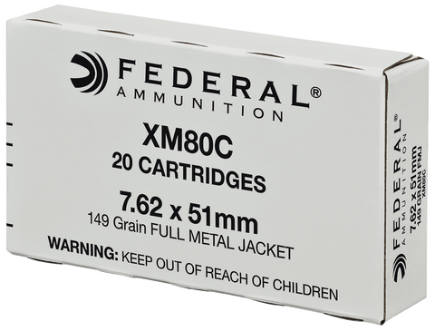 Federal XM80C American Eagle 308 Winchester/7.62 NATO 149 GR Full Metal Jacket 20 Bx/ 25 Cs