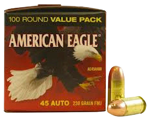 Federal AE45A100 American Eagle 45 Automatic Colt Pistol (ACP) 230 GR Full Metal Jacket 100 Bx/ 5 Cs - 100 Rounds