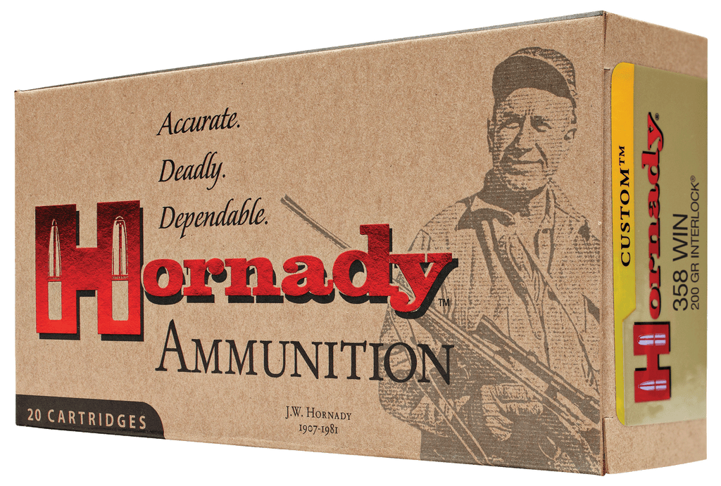Hornady 91318 Custom 358 Winchester 200 GR Soft Point 20 Bx/ 10 Cs