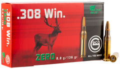 282440020 JHP Geco Zero  308 Winchester 136 GR Jacketed Hollow Point 20 Bx/10 Cs