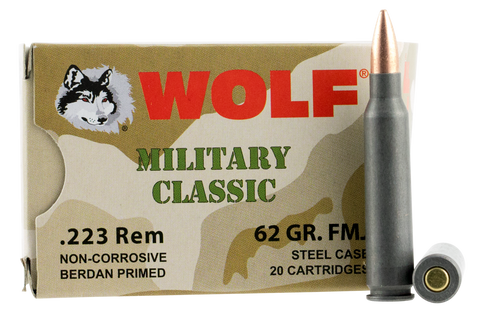 Wolf MC22362FMJ Military Classic 223 Remington 62 GR FMJ 500 Bx/ 1 Cs - 500 Rounds