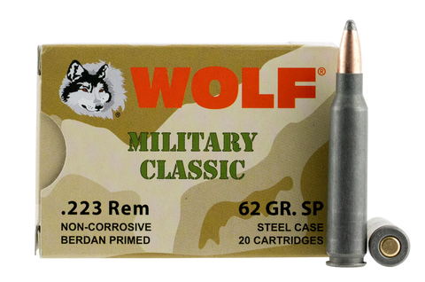 Wolf MC22362SP Military Classic 223 Remington 62 GR Soft Point 500 Bx/ 1 Cs - 500 Rounds