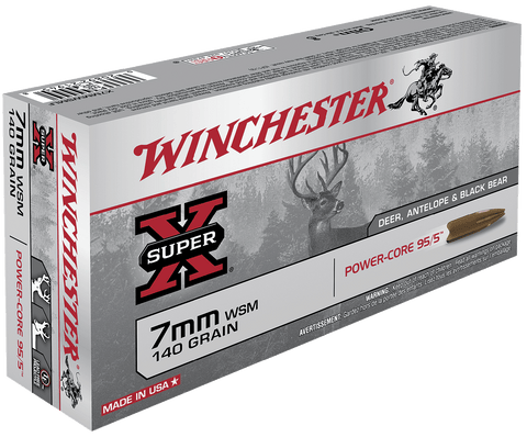 Winchester Ammo X7MMWSMLF Super-X 7mm Winchester Short Magnum 140 GR Power Core 20 Bx/ 10 Cs