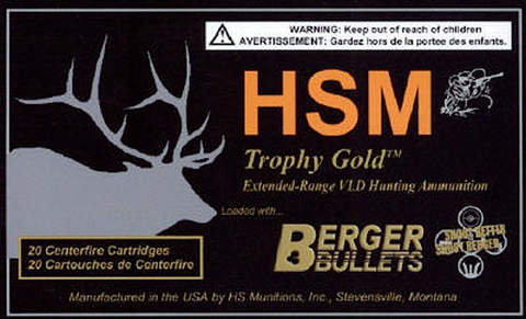HSM BER7STW180VL Trophy Gold 7mm Shooting Times Westerner 180 GR BTHP 20 Bx/ 1 Cs