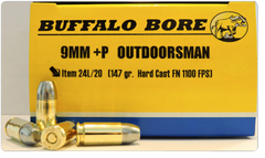 Buffalo Bore Ammunition 24L/20 Outdoorsman 9mm Luger +P 147 GR Hard Cast Flat Nose 20 Bx/ 12 Cs