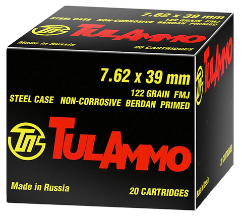 Tulammo UL076210 Centerfire Rifle 7.62X39mm 122 GR FMJ 100 Bx/ 10 Cs - 100 Rounds