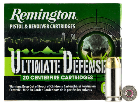 Remington Ammunition HD40SWBN Ultimate Defense Full Size Handgun 40 Smith & Wesson (S&W) 180 GR Brass Jacket Hollow Point 20 Bx/ 25 Cs