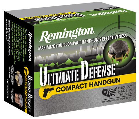 Remington Ammunition CHD9MMBN Ultimate Defense Compact Handgun 9mm Luger 124 GR Brass Jacket Hollow Point 20 Bx/ 25 Cs