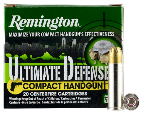 Remington Ammunition CHD38SBN Ultimate Defense Compact Handgun 38 Special +P 125 GR Brass Jacket Hollow Point 20 Bx/ 25 Cs