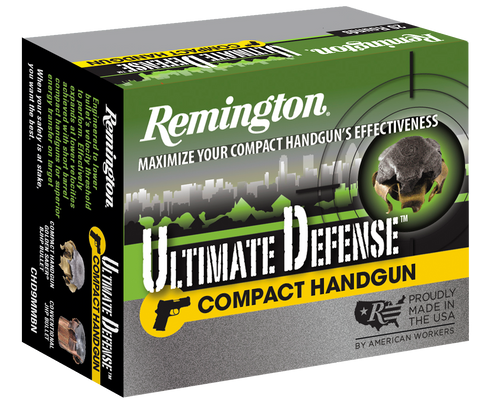 Remington Ammunition CHD40SWBN Ultimate Defense Compact Handgun 40 Smith & Wesson (S&W) 180 GR Brass Jacket Hollow Point 20 Bx/ 25 Cs