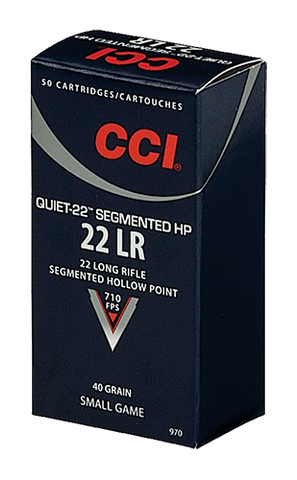 CCI 970 Small Game Quiet-22 22 Long Rifle (LR) 40 GR Segmented Hollow Point 50 Bx/ 100 Cs