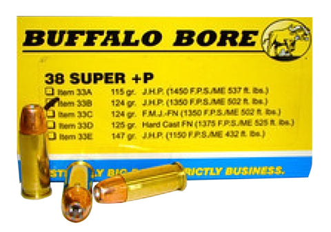 Buffalo Bore Ammunition 33B/20 38 Super +P JHP 124GR 20 Box/12 Case