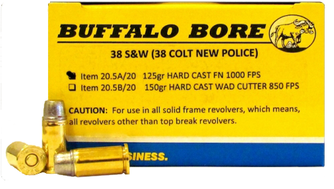 Buffalo Bore Ammunition 20.5A/20 38S&W (38 New Colt Police) 125GR Hard Cast Flat Nose 20Bx/12Cs