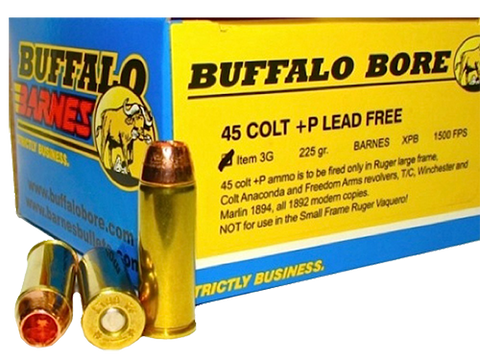Buffalo Bore Ammunition 3G/20 45 Colt +P Lead-Free Barnes XPB 225GR 20Box/12Case