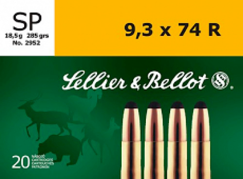 Sellier & Bellot SB9374RA Rifle 9.3mmX74R 285 GR Soft Point 20 Bx/ 18 Cs