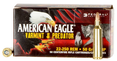 Federal AE2225050VP American Eagle 22-250 Remington 50 GR JHP 50 Bx/ 5 Cs