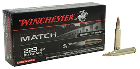Winchester Ammo S223M2 Match 223 Remington/5.56 NATO 69 GR Boat Tail Hollow Point 20 Bx/ 10 Cs