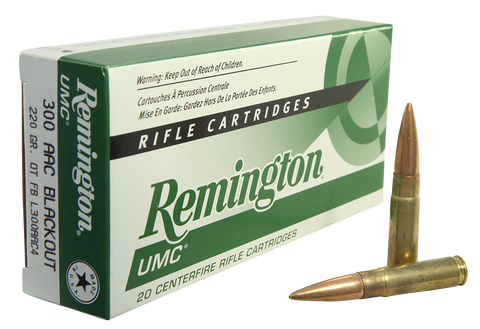 Remington Ammunition L300AAC4 Subsonic 300 AAC Blackout/Whisper (7.62X35mm) 220 GR Open Tip Flat Base 20 Bx/ 10 Cs