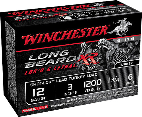 "Winchester Ammo STLB1236 Long Beard XR Shot-Lok Turkey 12 Gauge 3"" 1-3/4 oz 6 Shot 10 Bx/ 10 Cs"