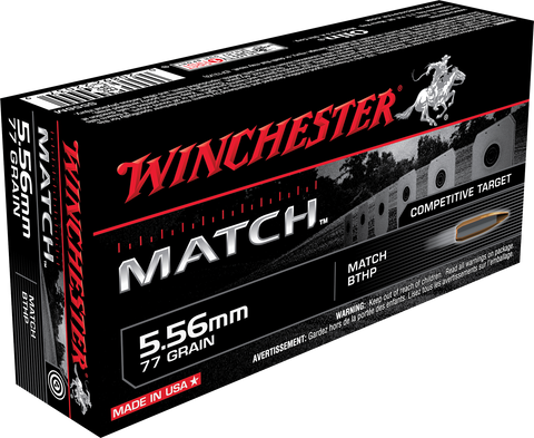 Winchester Ammo S556M Match 223 Remington/5.56 NATO 77 GR Boat Tail Hollow Point 20 Bx/ 10 Cs