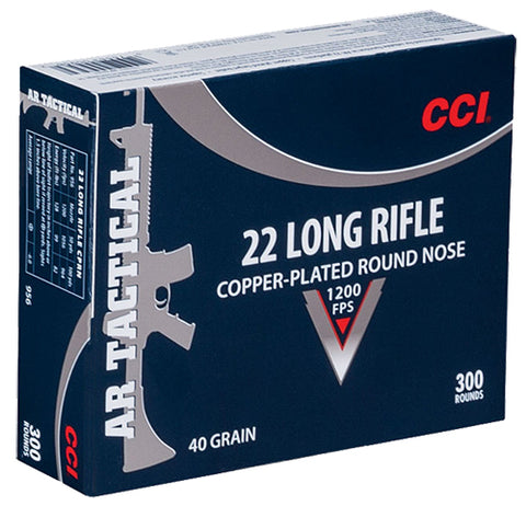 CCI 956 22 Long Rifle Copper-plated Round Nose 40 GR 300Box/10Case - 300 Rounds