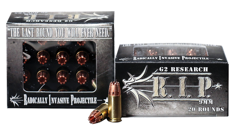 G2 Research RIP 9MM R.I.P 9mm Luger 92 GR Hollow Point 20 Bx/ 25 Cs