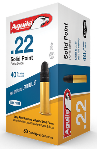Aguila Ammunition Rimfire, 22LR, 40 Grain, Solid Point, Standard Velocity, 50 Round Box 1B222332