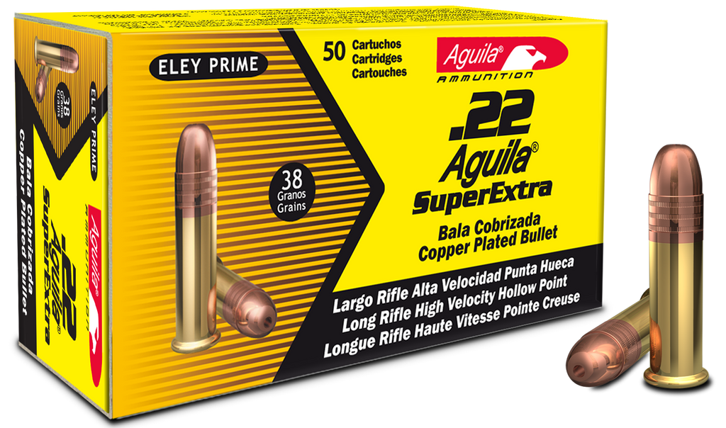 Aguila 1B222335 Standard High Velocity 22 Long Rifle (LR) 38 GR Hollow Point 50 Bx/ 100 Cs