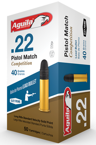 Aguila 1B222516 Match Competition Standard Velocity 22 Long Rifle (LR) 40 GR Lead Round Nose 50 Bx/ 100 Cs