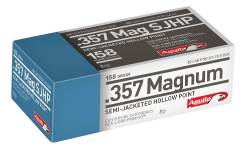 Aguila 1E572823 357 Magnum 158 GR Semi-Jacketed Soft Point 50 Bx/ 20 Cs