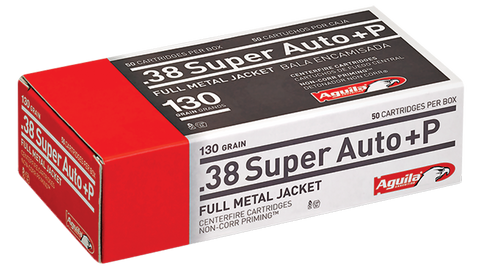 Aguila 1E382112 38 Super +P 130 GR Full Metal Jacket 50 Bx/ 20 Cs