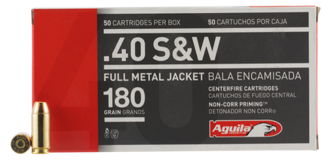 Aguila 1E402110  40 Smith & Wesson (S&W) 180 GR Full Metal Jacket Flat Nose 50 Bx/ 20 Cs