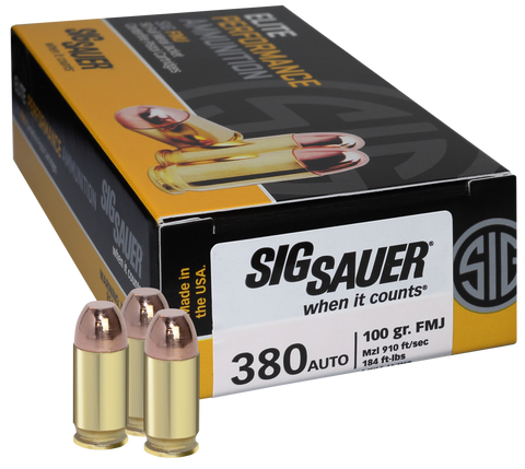 Sig Sauer E380B1-50 Full Metal Jacket 380 ACP 100 GR FMJ 50Box/20Case