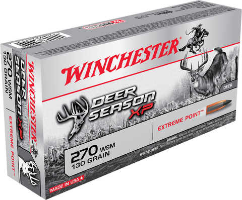 Winchester Ammo X270SDS Deer Season XP 270 Winchester Short Magnum 130 GR Extreme Point 20 Bx/ 10 Cs