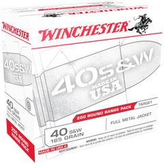 Winchester Ammo USA40W USA Centerfire 40 Smith & Wesson (S&W) 165 GR Full Metal Jacket 200 Bx/ 3 Cs - 200 Rounds