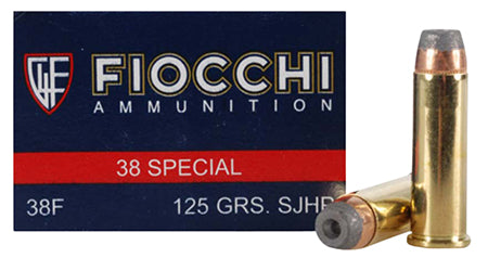 Fiocchi 38ACMJ Shooting Dynamics 38 Special 125 GR Copper Metal Jacket Flat Point 50 Bx/ 20 Cs