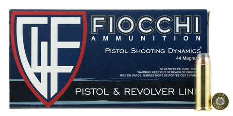 Fiocchi 44D500 Shooting Dynamics 44 Remington Magnum 240 GR Jacketed Hollow Point 50 Bx/ 10 Cs