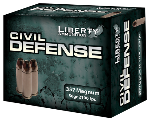 Liberty LACD357030 Civil Defense 357 Magnum 50 GR LF Fragmenting HP 20Bx