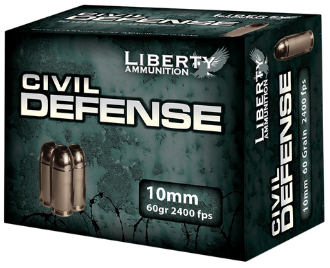 Liberty Ammunition LACD10032 Civil Defense 10mm 60 GR Hollow Point 20 Bx