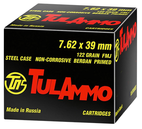 Tulammo UL076240 Centerfire Rifle 7.62X39mm 122 GR FMJ 40 Bx/ 25 Cs