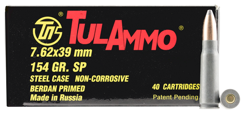Tulammo UL076213 Centerfire Rifle 7.62X39mm 124GR Soft Point 40Bx/25Cs