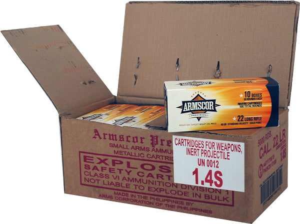 Armscor Ammo .22LR Cs Lots Std Velocity 40gr. Lead-RN5000 Rd