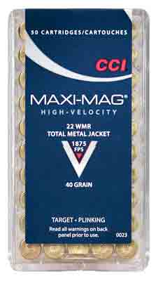 CCI Ammo Maxi-Mag .22Wmr 1875fps. 40gr. FMJ Solid 50Pack.