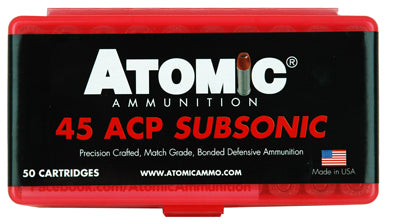 Atomic Ammo .45ACP Subsonic 250gr. Bonded JHP 50-Pack
