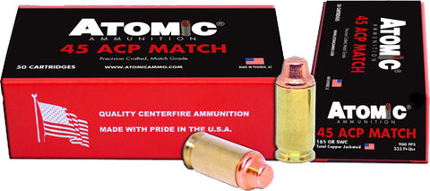 Atomic Ammo .45Acp Match 185Gr Lead Swc Copper Plated 50-Pk 00448