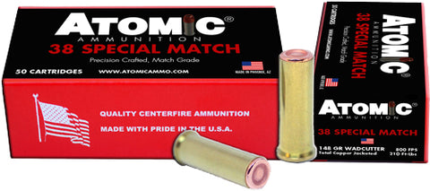 Atomic Ammo .38 Special Match 148Gr. Hbwc Copper Plate 50-Pk 30449